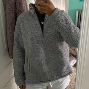 Abercrombie sherpa quarter zip pullover